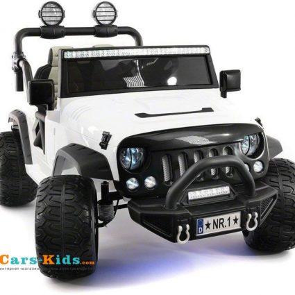 Электромобиль Jeep Wrangler White 4WD - SX1718-A (кресло кожа, колеса резина, пульт, музыка)