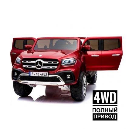 Электромобиль Mercedes-Benz X-Class 4WD XMX606 красный ( 2х местный, полный привод, резина, кожа,пульт, музыка)