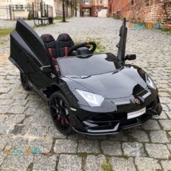 Электромобиль Lamborghini Aventador SVJ - HL328 черный (колеса резина, кресло кожа, пульт, музыка)