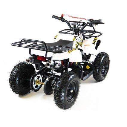 Квадроцикл детский бензиновый MOTAX ATV Х-16 Мини-Гризли с электростартером и пультом белый  (пульт, задний привод, до 45 км/ч)