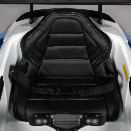Электромобиль BMW M6 GT3 белый (колеса резина, кресло кожа, пульт, музыка)